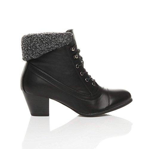 mid up Black Lace Ajvani Ankle Womens Fur Ladies Fur Boots Vintage Winter Pixie Heel Size Cuff Matte Sx6xEXq
