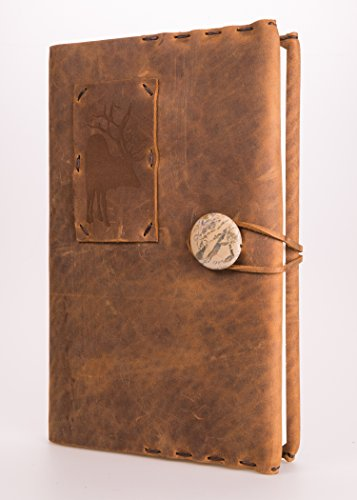 Refillable Leather Journal with Elk Tattoo + Jasper Concho + 220 Blank Pages 5.5