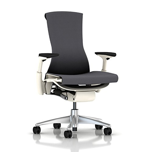 Herman Miller Embody Chair: Fully Adj Arms - White Frame/Titanium Base - Standard Carpet Casters