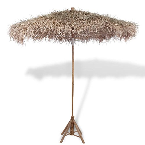 Tidyard Bamboo Parasol with Banana Folding and Storage Leaf Roof Until-UV 82.7