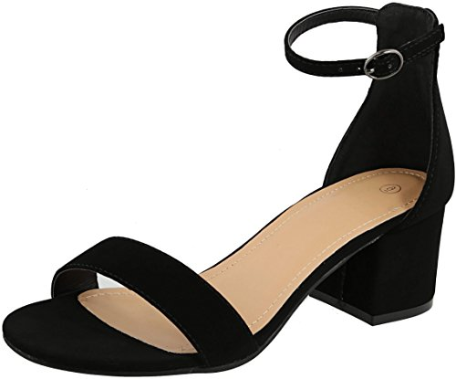 Cambridge Select Womens Open Toe Single Band Buckled Ankle Strap Chunky Block Mid Heel Sandal Black Nbpu oh4BS0yJ