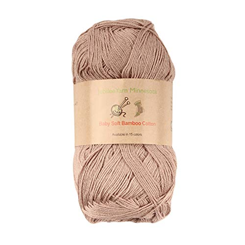 (Baby Soft Bamboo Cotton Yarn - JubileeYarn - Brown - 4 Skeins)