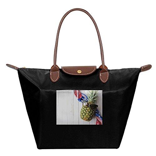 Folding Dumpling Bag Top Handle Handbag Women's Satchel Shoulder Shopping Gripesack Cool Pineapple Nylon Backpack