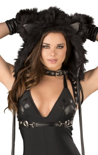 J. Valentine Women's Black Cat Hood, Black, One (J Valentine Cat Costume)
