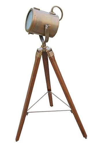 Nauticalmart Antique Marine Designer Spotlight W/brown Tripod Floor Lamp (Spots The Space Marine compare prices)