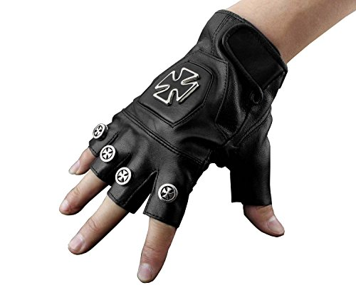 Studded Punk Rocker Driving Motorcycle Chopper Cross Leather Fingerless Men Gloves
