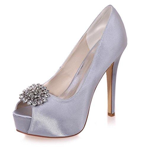 Da Scarpe Sposa Spuntate Strass Elegant Punta Scarpe 3128 Tacco Con alto Da Da Gray Da PL 20 Sposa Donna Scarpe shoes high qwqvpB