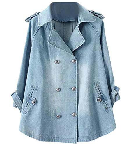 JXG Women Over Size Poncho Double-Breasted Notched Lapel Outerwear Denim Jacket Light Blue US ()