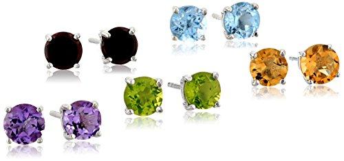 Peridot Topaz Jewelry Set (Round 6mm Blue Topaz, Amethyst, Citrine, Peridot and Garnet Set of Five Stud Earrings)