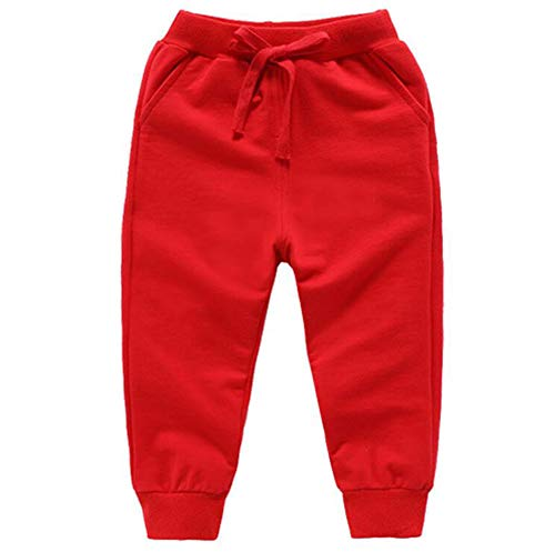 Bfsports Unisex Kids Solid Cotton Drawstring Waist Pants Toddler Baby Active Sweatpants Red 120cm