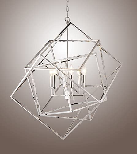 Caged Cubist Pendant Metron Chandelier 6 Light Multifaceted Frame Interlock Polished Nickel