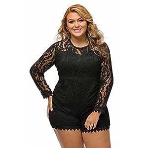 roswear Women's Plus Size Round Neck Long Sleeve Lace Romper Jumpsuit