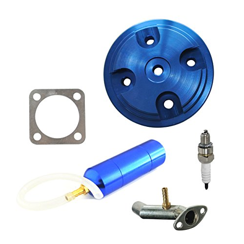 JRL CNC Blue Cylinder Head Cover Power Boost Bottle Fit 80cc Motorized Bicycle ()