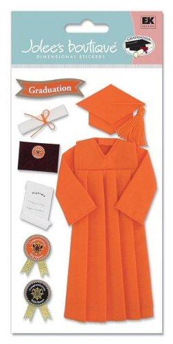 Jolee's Boutique Le Grande Dimensional Stickers-Graduation Cap & Gown/Orange