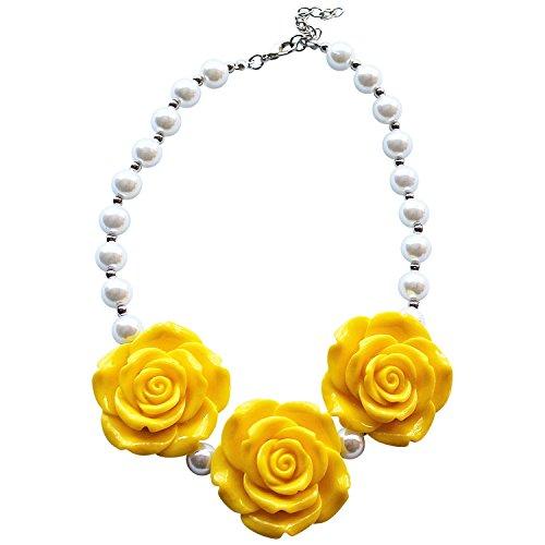 Yellow Rose Girls Chunky Bead Necklace (Adult Princess Bubblegum Costume)