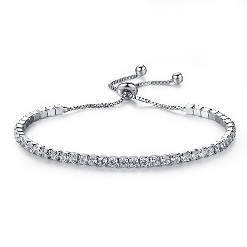 Nelegant Women Adjustable Trendy Bracelets Round Cut Cubic Crystal Slider Tennis Girls Charm Chain (Silver)