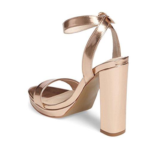 Fsj Donne Sexy Sandali Con Cinturino Alla Caviglia Open Toe Tacco Grosso Per Le Scarpe Estive Taglia 4-15 Us Champagne