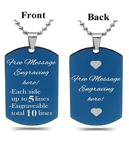 (Interway Trading Personalized Small Size Custom Message Engraved Stainless Steel Necklace Dog Tag Pendant with 24 inch Chain,Velvet Giftpouch and Keyring (Rectangular Blue))