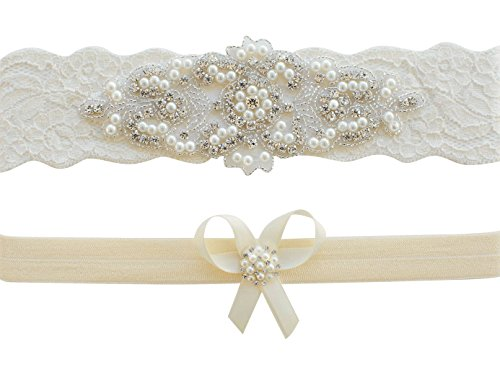 Garter for Bride   Wedding Garter Set   Garters   Ivory Garter   Lace Garters   Wedding Belt   CG101 (XL (22