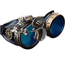 Steampunk Victorian Style Goggles with Compass Design, Azure Blue lenses & ocular Loupe