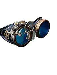 Steampunk Victorian Style Goggles with Compass Design, Colored Lenses & Ocular Loupe