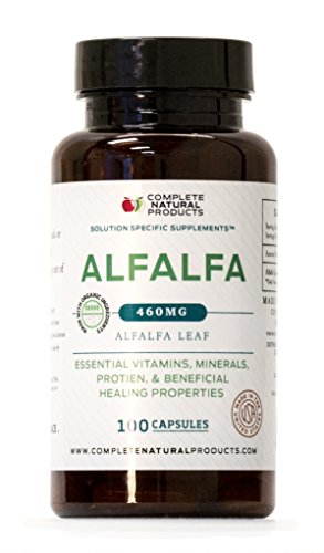 Organic Alfalfa Leaf Powder - Organic Alfalfa Leaf (Medicago Sativa) - 100 Capsules - 460mg of Pure Dried Alfalfa Leaf Powder Tablets
