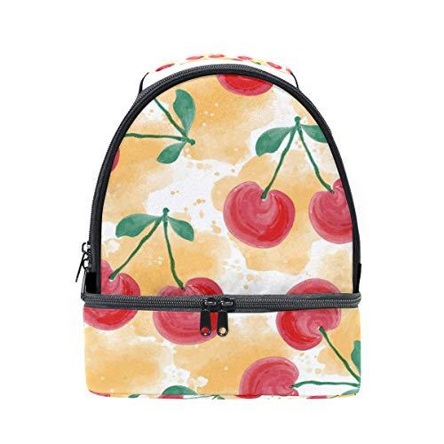 Alinlo Tote Boîte motifs bandoulière Cerise à l'école avec pour Sac réglable Pincnic Cooler aquarelle à lunch isotherme 8qrUE8