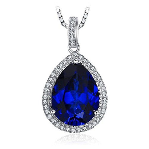 - VERA NOVA JEWELRY Luscious 12.58Ct Blue Synthetic Sapphire Pear-Shape Sterling Silver Pendant Necklace with 18-inch Box Chain
