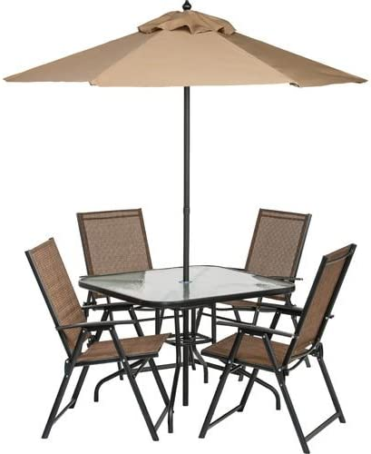 6 Piece Outdoor Folding Patio Set With Table 4 Chairs Umbrella And Built In Base Garden Outdoor