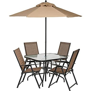 6 Piece Outdoor Folding Patio Set - With Table, 4 Chairs, Umbrella and Built-In Base