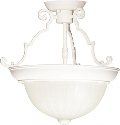 Nuvo SF76/435 Semi-Flush Dome with Frosted Melon Glass, Textured White, -