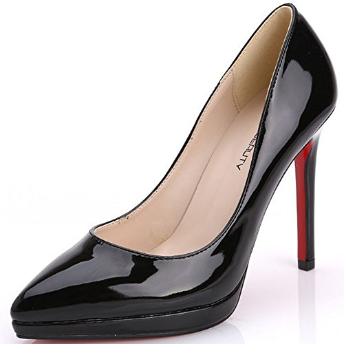 LongFengMa Women Basic Pumps Stiletto Patent Solid Business Shoes Pointed Toe Black