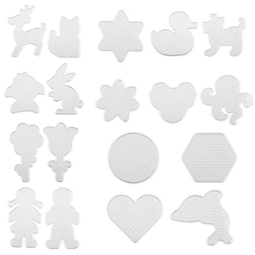 Kare & Kind Fuse Beads Pegboards - 19 pcs - Also Includes Colorful Card Templates, Reusable Ironing Paper and Tweezers - Kids DIY, Arts and Craft Activities -