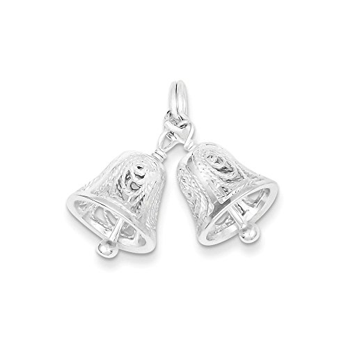 Sterling Silver 3-D Polished Moveable Wedding Bells Charm Fits Up To 3mm Length 20mm