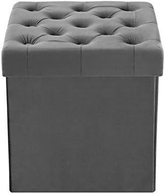 Groovy Poly And Bark Lauren Velvet Cube Storage Ottoman Grey Ncnpc Chair Design For Home Ncnpcorg