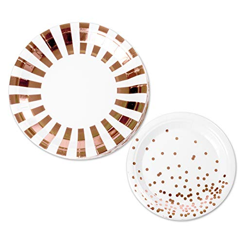 Andaz Press Rose Gold Foil Modern Party Plates Set, Bulk 50-Pack, 9-Inch Plates, 7-Inch Plates, Stripes Lunch Plates and Polka Dots Dessert Plates Modern Party Tableware Rose Gold, Party Supplies