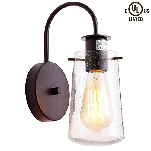CREALITE Vintage Style 1-light Industrial Sconce Light with Super-thick Glass Shade Simplicity Industrial Retro Edison Fixture in Antique Bronze Finish CL2017035 - 1 Light Seeded Glass