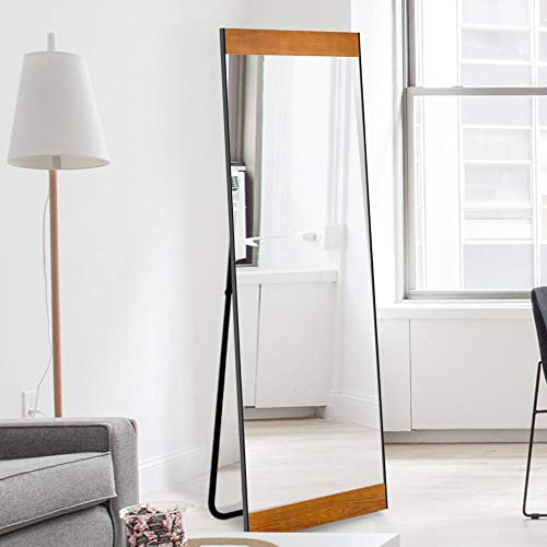(NeuType Full Length Mirror Floor Mirror with Standing Holder Bedroom/Locker Room Standing/Hanging Mirror Dressing Mirror Wall-Mounted Mirror (Solid Wood (with Stand)))