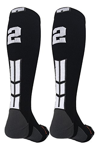 MadSportsStuff Player Id Black/White Over the Calf Number Socks (#22, Large)