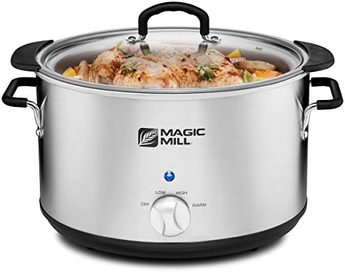 Magic Mill 10 Quart Slow Cooker 3 Manual Heat Settings Removable Pot, Stainless Steel Stanless steel