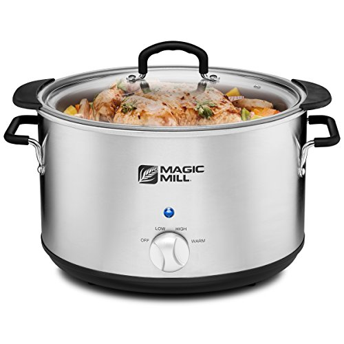 Cheap Magic Mill 10 Quart Slow Cooker 3 Manual Heat Settings Removable Pot, Stainless Steel (Stanless steel)