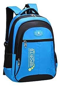 SellerFun Unisex Child Girl Boy Nylon Lightweight Primary Junior School Bookbag Hiking Backpack(Blue,18L)