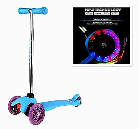 Befied Mini Scooter Plegable Tri Patinete para niños Monopatín de 3 Ruedas con Luces LED Rodamiento ABEC-7: Amazon.es: Juguetes y juegos