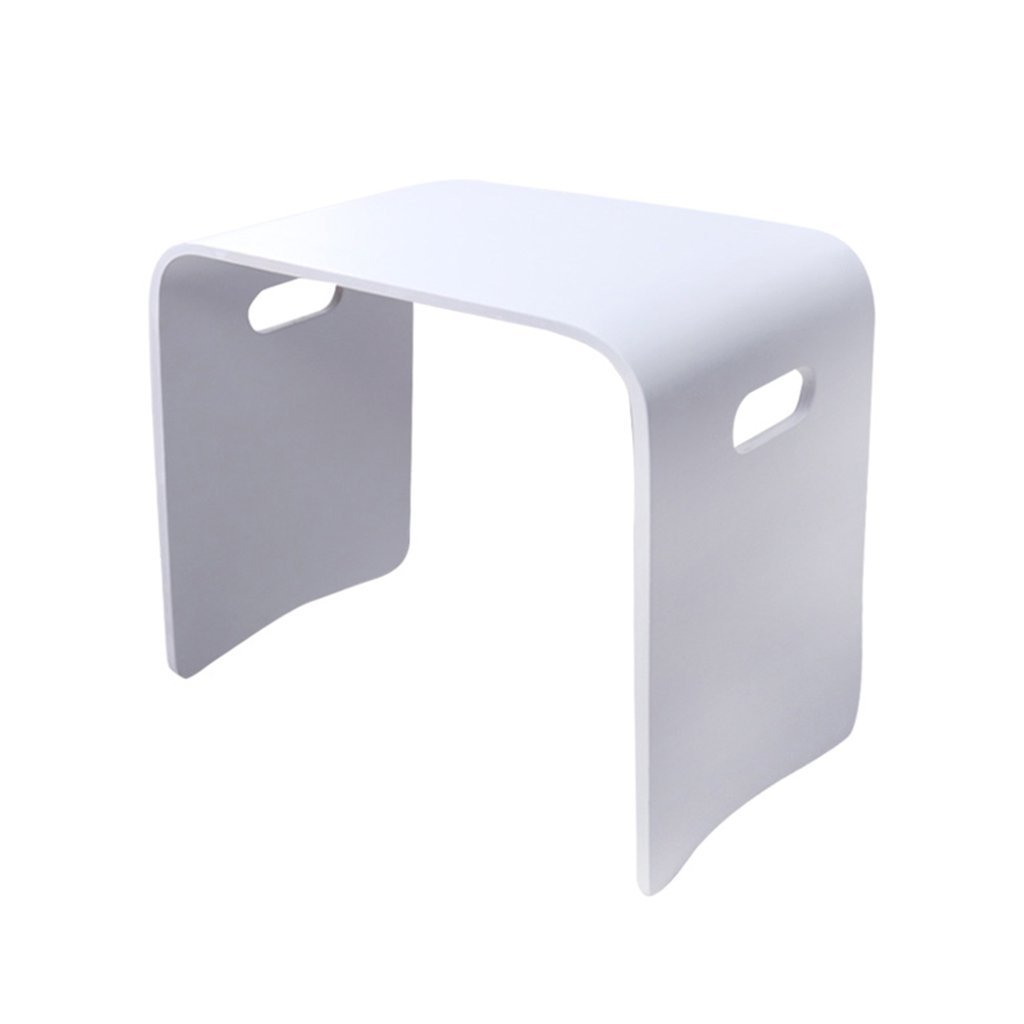 Coffee Tables Multifunctional Solid Wood Small Table Living Room Bay Window Small Desk Home Square Shoe Bench (Color : White, Size : 43cm/16.9inch)