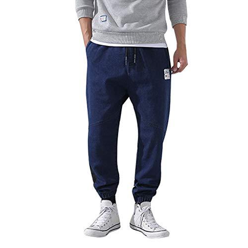 Aleola Men's Casual Outdoors Solid Work Trousers Multi-pocket Pants (Dark Blue,XXXXXL)