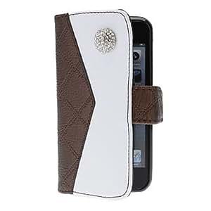 Procesamiento de dos días -Bolso de la mirada del diamante de la señora diseñó caso de cuerpo completo con ranura para tarjeta y la correa para el iphone 5/5s (colores surtidos),Purple