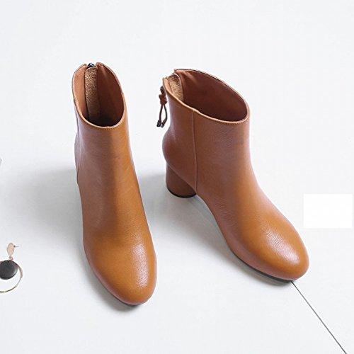 Américains Ronde Confortables Et L'hiver Glissière Sauvage Bottes À Chaussures Jaune L'automne Européens Zh Martin Talons Hauts Femmes 8HqIwPpnxF