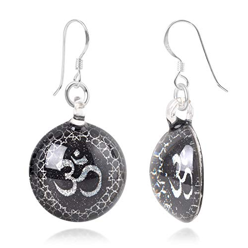 Sterling Silver Hand Blown Glass Black Om Ohm Aum Symbol Night Star Design Round Dangle Earrings
