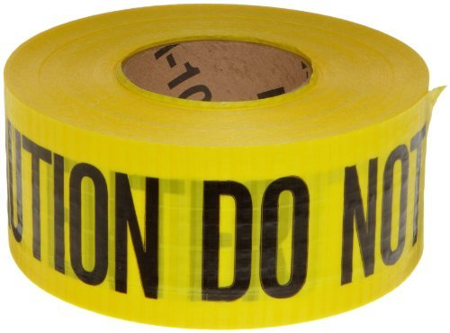 Brady 91102 500' Length, 3 Width, Black On Yellow Color Reinforced Barricade Tape, Legend Caution Do Not Enter by Brady