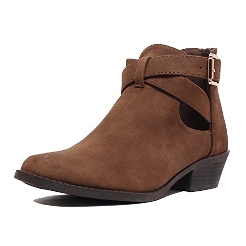 Comfortable Pu Guilty Boots Chunky Perforated Low Heel Brownv3 Closed Ankle Booties Toe Womens Heart Buckle gwwq6FxEf